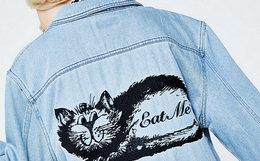 6折!ripndip贱猫方领水洗做旧刺绣短款牛仔夹克