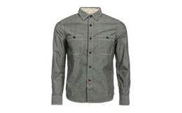 2.5折!日本Edwin复古风灰黑色口袋长袖衬衫
