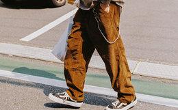 新品8.3折!714street 直筒素版灯芯绒锥形宽松男女工装裤