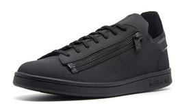 6折!Y-3全黑圆头系带侧拉链超轻运动休闲板鞋