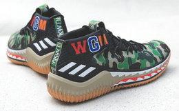 Adidas x BAPE联名 Dame 4 迷彩鲨鱼松紧带男女篮球鞋