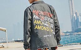 新品!SSUR×Amonster联名款2018SS扭曲字母教练夹克外套