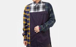 6折!CLOTTEE IMMIGRANT系列不对称黄色格纹休闲拼接衬衫