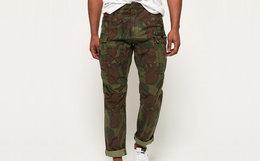新品!英国Superdry极度干燥徽标贴布迷彩工装裤