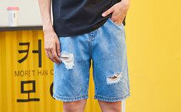 新品8.1折!韩国潮牌PANCOAT破洞水洗宽松直筒牛仔短裤