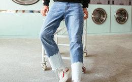 新品!VIISHOW水洗做旧不规则视觉拼色牛仔裤