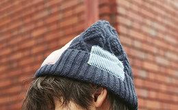 8.8折!corade宝葫芦拼接贴布男女卷边毛线帽