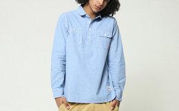 7.6折!ABSURD LOGIC荒诞逻辑弧形立领套头浅蓝色衬衫
