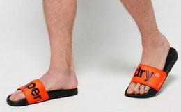 新品6折!Superdry 极度干燥字母logo舒适平底男拖鞋