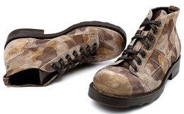 新品7.7折!意大利OXS迷彩纹反绒皮马丁靴
