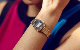 6折!Casio卡西欧方形防水有机玻璃复古男女镀金手表