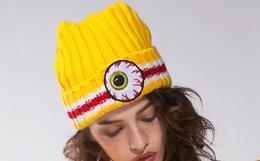新品!Mishka NYC大眼球贴标毛线冷帽男女针织帽