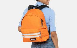 7.2折!EASTPAK 立体前置袋反光条纹标签男女双肩背包