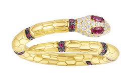 新品!法国APM Monaco金黄色银镶晶钻红刚玉蛇神戒指