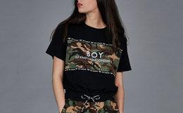新品!BOY LONDON拼接迷彩字母印花男女短袖套头T恤