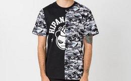 新品!HIPANDA你好熊猫2018SS夜光迷彩拼接T恤
