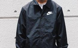 新品!NIKE方领logo印花日本限定黑色男女教练夹克