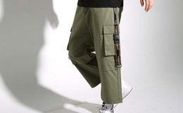 新品6折!THETHING字母织带贴袋七分廓形工装裤