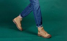 8折!PALLADIUM帕拉丁包裹头系带高帮帆布鞋男短靴