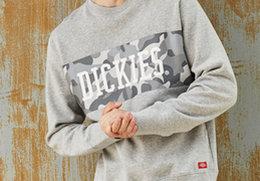新品8.5折!Dickies圆领套头全棉迷彩运动卫衣