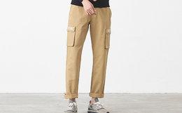 新品4.9折!DUSTY字母印花大口袋直筒宽松工装裤