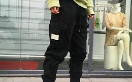 国潮 CONK 侧面大盖袋标语贴布男女宽松工装裤束脚裤
