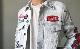 8折!Staple x CocaCola 鸽子联名刺绣洗白男女牛仔夹克