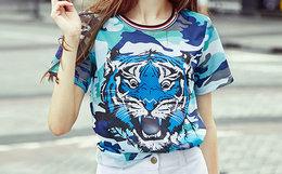 新品5.1折!MaxMartin玛玛绨虎头海军迷彩短袖T恤