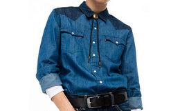7折!Levis李维斯拼接肩长袖牛仔衬衫