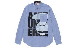 6折!Aape 猿颜字母印花单口袋清新蓝白条纹男衬衫