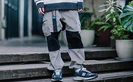 7折!Mostwantedlab灯芯绒拼接撞色工装裤男束脚裤