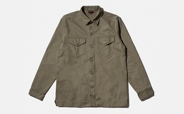 5折!CLOT 背后字母印花方领纽扣休闲军事风男长袖衬衫