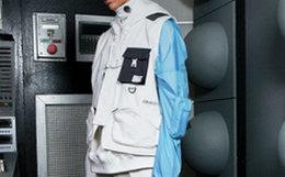 新品!C2H4撞色宽松白蓝火星重组帽衫
