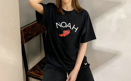 新品!Noah飞翼飞足经典LOGO印花圆领男女短袖T恤
