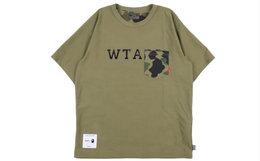 日潮BAPE×WTAPS联名款迷彩口袋两面穿短袖T恤