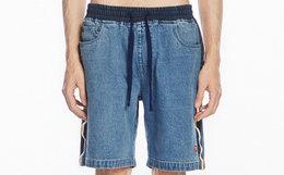 新品7.3折!STAND BY撞色字母印花织带水洗牛仔短裤