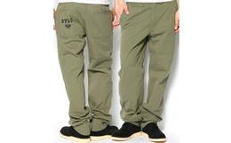 日潮bape暗条纹直筒纯棉军绿色休闲裤男工装裤