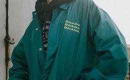 新品5.2折!Dickies翻领logo印花教练夹克男女外套