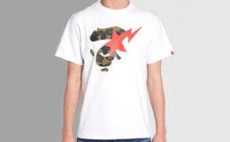 日潮Bape经典迷彩猿颜闪电纯棉短袖T恤 多色可选