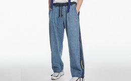 新品7.4折!STAND BY裤脚织带抽绳阔腿牛仔裤