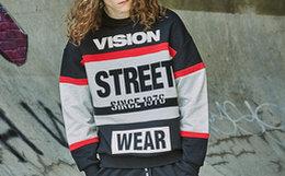 新品!Vision Street Wear圆领拼接印花情侣款卫衣
