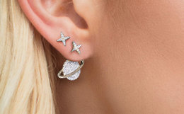 APM Monaco星球镶晶钻不对称纯银耳钉女耳坠