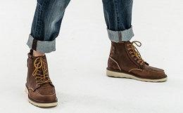 5.7折!CAT 卡特做旧牛皮革系带复古男户外高帮鞋工装靴