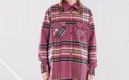 新品用劵优惠!AROUSAL*GRKC粉格纹撞色羊毛呢女衬衫外套
