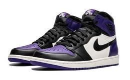 新品用劵优惠!JORDAN AJ1紫葡萄黑紫拼色高帮运动鞋
