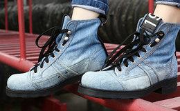 7.5折!意大利OXS 2018SS字母皮革串标做旧牛仔高帮马丁靴