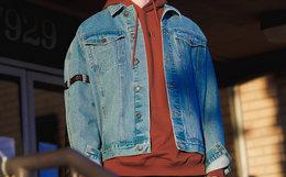 Lilbetter翻领水洗字母织带牛仔夹克外套