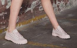 新品7.2折!PALLADIUM帕拉丁系带樱花粉女低帮帆布鞋