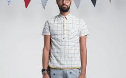 THETHING设计潮牌男拼接格子短袖衬衫