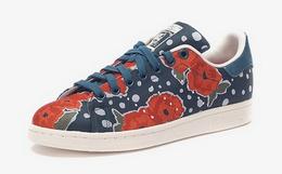 7折!Adidas史密斯三叶草花卉满印系带圆头运动女板鞋